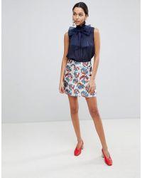 Traffic People - Printed Jacquard A Line Mini Skirt - Lyst