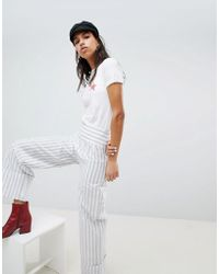 Lost Ink - Trouser With Wide Leg And Turn Ups In Stripe - Lyst