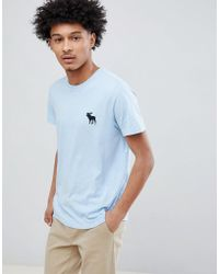Abercrombie & Fitch | Large Moose Logo Crewneck T-shirt In Light Blue | Lyst