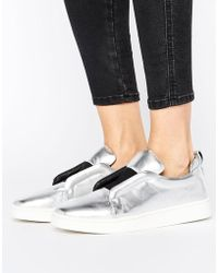 Sol Sana - Mickey Slip On Silver Leather Trainers - Lyst
