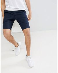 River Island - Slim Fit Chino Shorts In Navy - Lyst