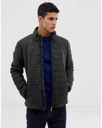 Esprit - Faux Leather Padded Jacket In Dark Grey - Lyst