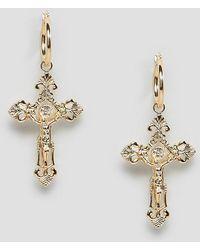 Rock N Rose - Gold Ornate Cross Drop Hoop Earrings - Lyst