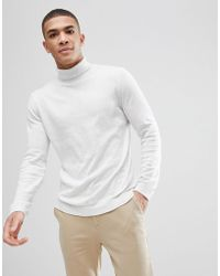 ASOS - Asos Cotton Roll Neck Sweater In Pale Gray - Lyst