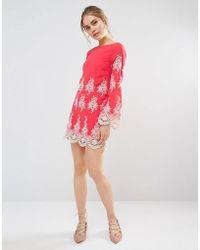 Endless Rose - Lace Long Sleeve Mini Dress - Lyst