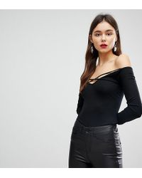 ASOS - Off Shoulder Top With Caging Detail And Long Sleeves - Lyst