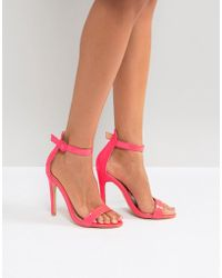 Truffle Collection | Round Buckle Skinny Heeled Sandals | Lyst