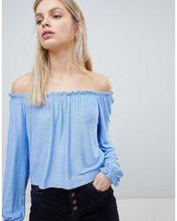 Bershka - Bardot Top In Blue - Lyst