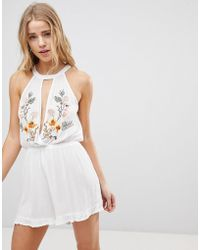 New Look - Embroidered Keyhole Beach Playsuit - Lyst