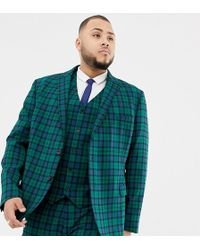 8f30b22f22af15 ASOS Slim Suit Jacket In Black And Green Windowpane Check in Black for Men  - Lyst
