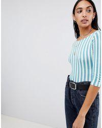 Motel - Scoop Back Long Sleeve Body In Candy Stripe - Lyst
