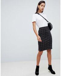 Vero Moda - Check Midi Skirt - Lyst