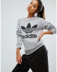adidas Originals - Originals Grey Trefoil Boyfriend Sweatshirt - Lyst