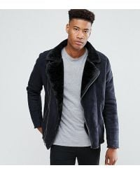 Barneys Originals - Tall Faux Shearling Biker Jacket - Lyst