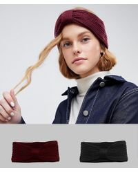 ASOS - 2 Pack Rib Headband In Recycled Polyester Burgundy And Black - Lyst
