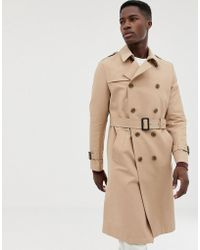 ASOS - Shower Resistant Longline Trench Coat With Belt In Stone - Lyst
