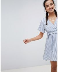 PrettyLittleThing - Striped Tie Side Mini Dress - Lyst