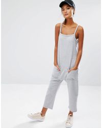 Daisy Street - Jersey Jumpsuit With Raw Hem And Pockets - Lyst