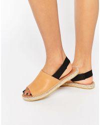 SELECTED | Femme Hannah Cognac Sling Back Espadrille Flat Shoes - Cognac | Lyst