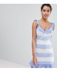 PrettyLittleThing - Lace Detail Stripe Dress - Lyst