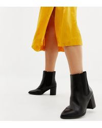 River Island - Wide Fit Heeled Boots In Black - Lyst
