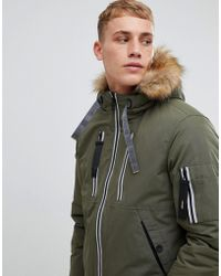 Esprit - Short Parka With Teddy Lined Faux Fur Hood - Lyst