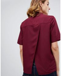 Warehouse - Short Sleeve Blouse With Open Back In Burgundy - Lyst