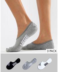 Vans - 3 Pack Assorted No Show Socks - Lyst