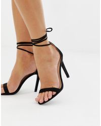 cf9dc487d124 Glamorous - Black Ankle Tie Heeled Sandals - Lyst
