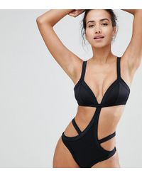 Wolf & Whistle   Cut Away Bandage Swimsuit   Lyst