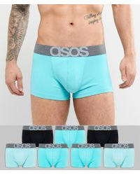 ASOS DESIGN - Hipsters In Blues With Branded Waistband 7 Pack Save - Lyst