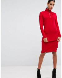 ASOS - Knitted Dress With Zip Up Neck - Lyst