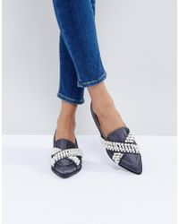 Lost Buckle Lyst Mule Backless Loafers Ink In Natural zzqS7rPn