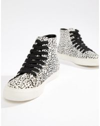ASOS - District High Top Trainers In Leopard Print - Lyst
