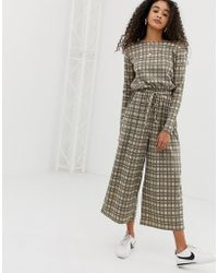 Daisy Street - Jumpsuit With Drawstring Waist In Vintage Check - Lyst