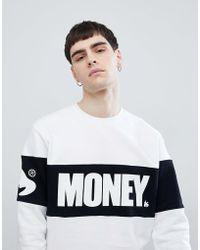 Money - Block Crew Neck Jumper In White With Panel - Lyst