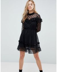 ASOS | Dobby And Lace Insert Mini Skater Dress | Lyst