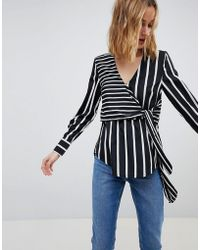 Warehouse - Stripe Wrap Front Blouse - Lyst
