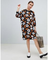 Monki - Dress With Large Flower Print In Black - Lyst