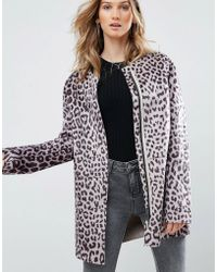 Pepe Jeans - Waver Leopard Print Collarless Coat - Lyst