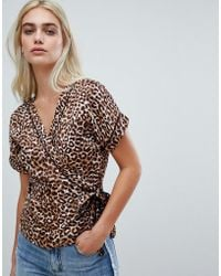 Pieces - Leopard Wrap Blouse - Lyst