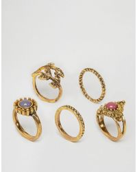 Ashiana - Multi Pack Of Rings With Leaf And Stone Detal - Lyst