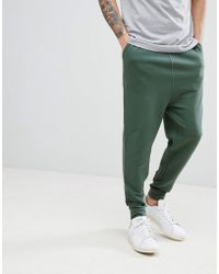 ASOS - Design Drop Crotch Joggers In Washed Green - Lyst