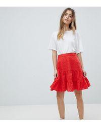 ASOS - Asos Design Petite Broderie Mini Skirt - Lyst