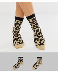 ASOS - 2 Pack Glitter Leopard And Zebra Socks - Lyst