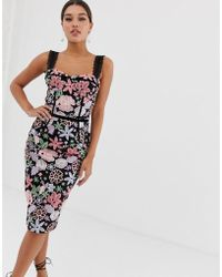 286a3d70c114b Bronx and Banco - Bronx   Banco Camille Floral Embroidered Pencil Dress -  Lyst