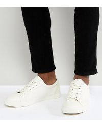 ASOS - Wide Fit Lace Up Sneakers In White - Lyst