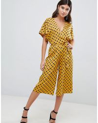 PrettyLittleThing - Cullotte Jumpsuit In Polka Dot - Lyst