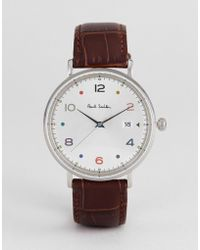Paul Smith - Ps0060002 Gauge Colour Leather Watch In Black 41mm - Lyst