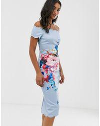 Ted Baker Платье С Открытыми Плечами И Цветочным Принтом Raspberry Ripple Hailly - Синий